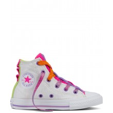 Converse Kids All Star Hi Jersey Material White/Bold Lime